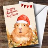 Gold Foliage Guinea Pig Customised Cute Christmas Card