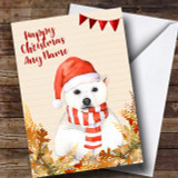 Gold Foliage Polar Bear Customised Cute Christmas Card