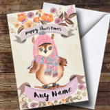Rustic Gold Skiing Owl Customised Cute Christmas Card