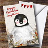 Silver Foliage Raccoon Customised Cute Christmas Card