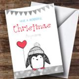 Silver Glitter Penguin Customised Cute Christmas Card