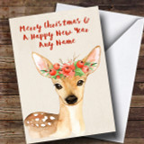Watercolour Xmas Deer Customised Cute Christmas Card