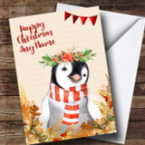Gold Foliage Penguin Customised Cute Christmas Card