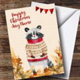 Gold Foliage Raccoon Customised Cute Christmas Card