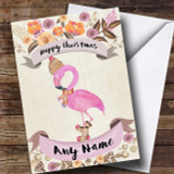 Rustic Gold Flamingo Customised Cute Christmas Card