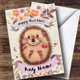 Rustic Gold Hedgehog Customised Cute Christmas Card