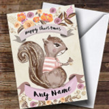 Rustic Gold Squirrel Customised Cute Christmas Card