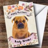 Rustic Gold Dog Pug Customised Cute Christmas Card