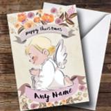 Rustic Gold Angel Customised Cute Christmas Card