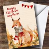 Gold Foliage Fox Customised Cute Christmas Card