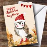 Gold Foliage Owl Customised Cute Christmas Card