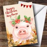 Gold Foliage Pig Customised Cute Christmas Card