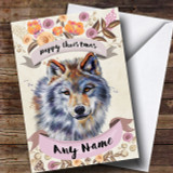 Rustic Gold Wolf Customised Cute Christmas Card