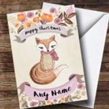 Rustic Gold Fox Customised Cute Christmas Card