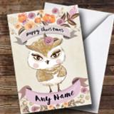 Rustic Gold Owl Customised Cute Christmas Card