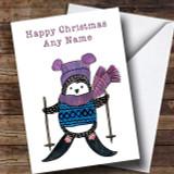 Skiing Penguin Customised Cute Christmas Card