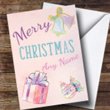 Cute Pastel Watercolour Present Bauble Christmas Customised Card