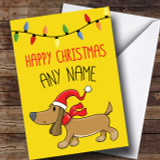 Bright Sausage Dog Christmas Customised Card