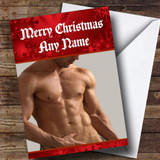 Sexy Mans Body Funny Customised Christmas Card