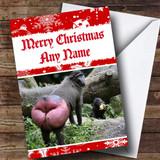 Massive Monkey Bum Funny Customised Christmas Card