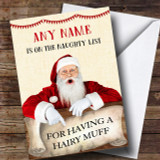 Funny Rude Offensive Naughty List Hairy Muff Customised Christmas Card