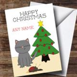 Funny Joke Humorous Cat Dead Robin Bird Customised Christmas Card