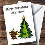 Funny Dog Peeing On Tree Customised Christmas Card