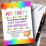 Paint Strokes Art Party Children's Birthday Party Invitations