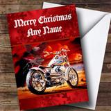 Red Harley Davidson Motorbike Customised Christmas Card