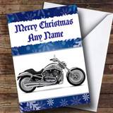 Blue Harley Davidson Motorbike Customised Christmas Card