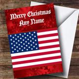 American Flag Usa Customised Christmas Card