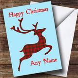 Tartan Reindeer Blue Christmas Card Customised