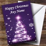 Purple Xmas Tree Christmas Card Customised