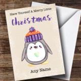 Merry Little Christmas Penguin Customised Christmas Card