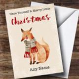 Merry Little Christmas Fox Customised Christmas Card