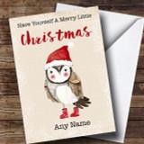 Merry Little Christmas Owl Customised Christmas Card