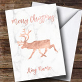 Rose Gold Marble Reindeer Customised Christmas Card