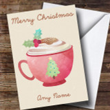 Watercolour Hot Chocolate Customised Christmas Card
