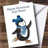 Blue Ice Skating Penguin Customised Christmas Card