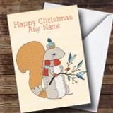 Autumn Squirrel Customised Christmas Card