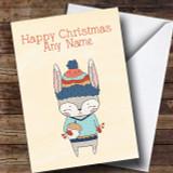 Autumn Rabbit Customised Christmas Card