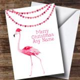 Pink Flamingo Customised Christmas Card