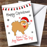 Red Pomeranian From Or To The Dog Pet Customised Christmas Card