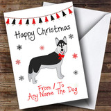 Husky From Or To The Dog Pet Customised Christmas Card