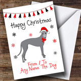 Greyhound From Or To The Dog Pet Customised Christmas Card