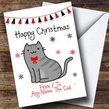 Grey Tabby From Or To The Cat Pet Customised Christmas Card