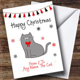 Grey From Or To The Cat Pet Customised Christmas Card