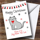Grey & White From Or To The Cat Pet Customised Christmas Card