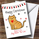 Ginger Tabby From Or To The Cat Pet Customised Christmas Card