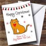 Ginger & White From Or To The Cat Pet Customised Christmas Card